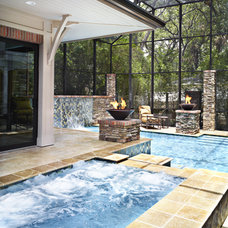 Transitional Pool by Alvarez Homes