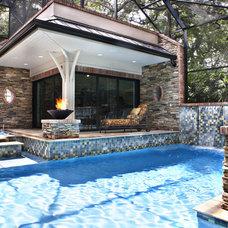Transitional Pool by Alvarez Homes