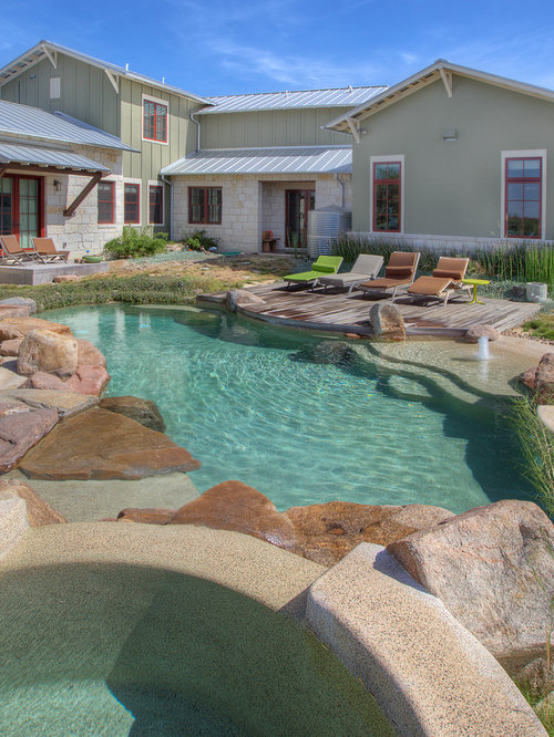 Mediterraner pool mit dielen ideen swimming pool for Garden oases pool entrance