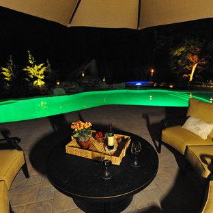 Foto di una grande piscina tradizionale personalizzata dietro casa con una vasca idromassaggio e pavimentazioni in cemento
