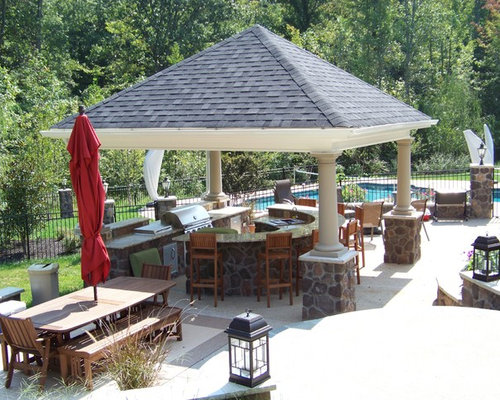 Outdoor kitchen gazebo houzz for Poolside kitchen designs