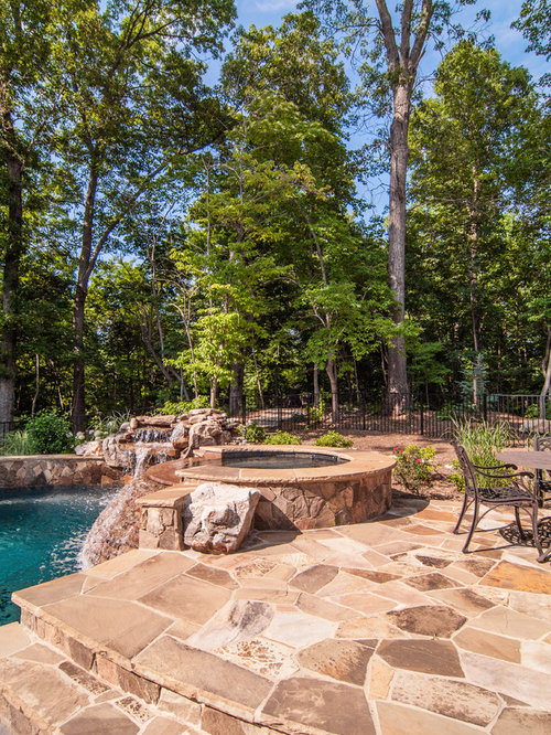 Pool   Traditional Stone Pool Idea In Charlotte