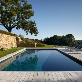 Inspiration for a country rectangular pool remodel in Milwaukee