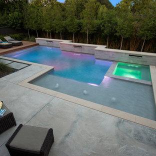 Mittelgroßer Moderner Pool hinter dem Haus in individueller Form mit Betonplatten in Dallas