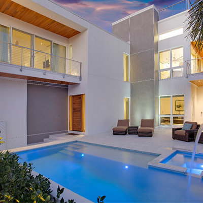 Mid-sized trendy backyard concrete paver and rectangular natural pool fountain photo in Tampa