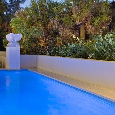 Example of a mid-sized trendy backyard concrete paver and rectangular natural pool fountain design in Tampa