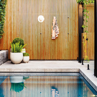 Photo of a contemporary backyard rectangular lap pool in Melbourne.