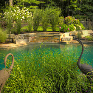 Inspiration for a mid-sized arts and crafts side yard custom-shaped natural pool in Detroit with a water feature and brick pavers.