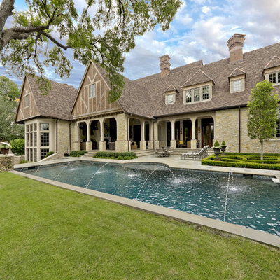 Inspiration for a timeless backyard rectangular pool remodel in Dallas