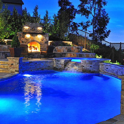 Example of a classic custom-shaped pool design in Orange County