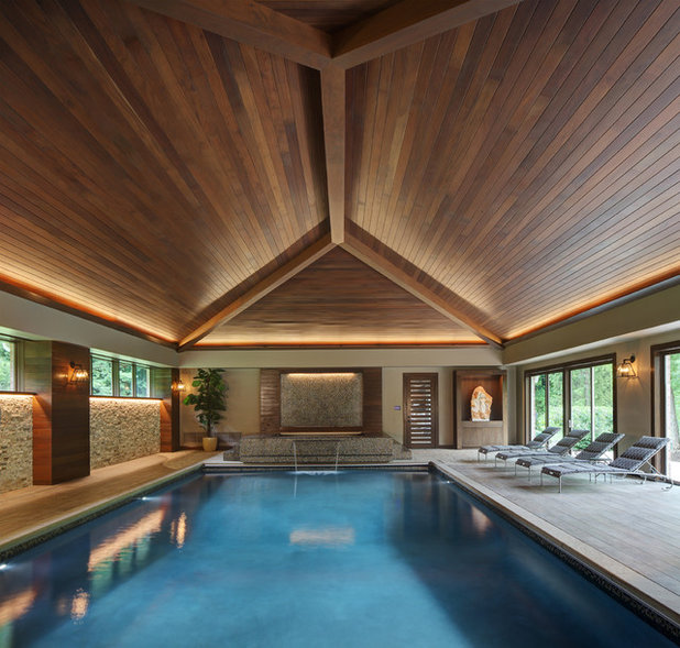 We can dream dive into this zen pool house with rustic flair for Pool design books