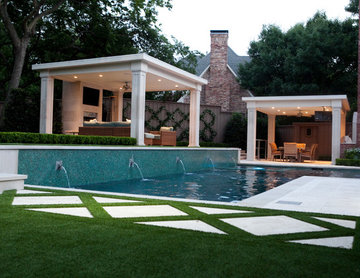 Transitional Outdoor Living, Pool and Dining