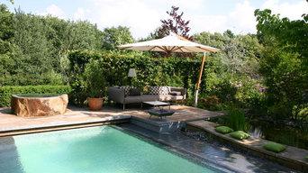 Traumgarten mit Pool, Lounge, Holzterrasse