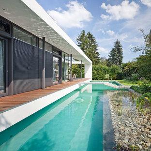 Ispirazione per una grande piscina naturale design personalizzata nel cortile laterale con fontane e pedane