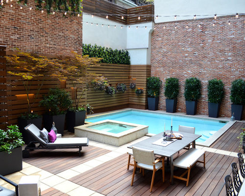 Small Pool Ideas gallery for small pool design ideas Small Contemporary Courtyard Rectangular Lap Pool Idea In New York With A Hot Tub And Decking