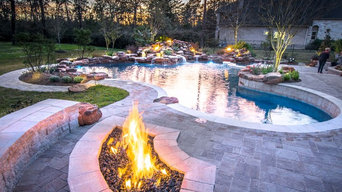 Tropical Lagoon with Fire