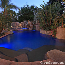 Tropical Pool by Green Scene Landscaping & Pools