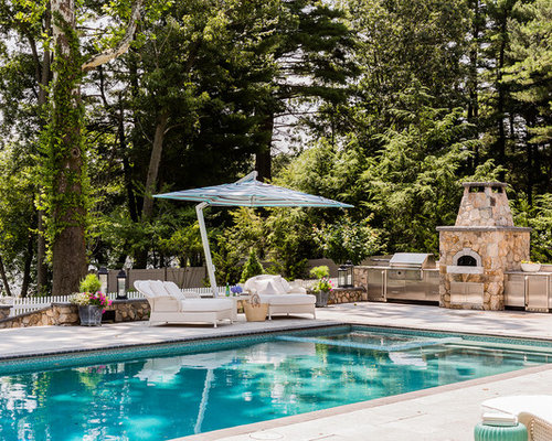 coastal backyard rectangular pool photo in boston