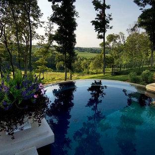 Diseño de piscina infinita, clásica, grande, redondeada, en patio trasero, con adoquines de piedra natural