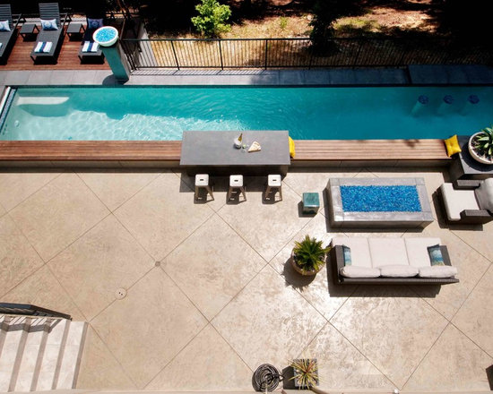 brushed concrete pool decks | houzz