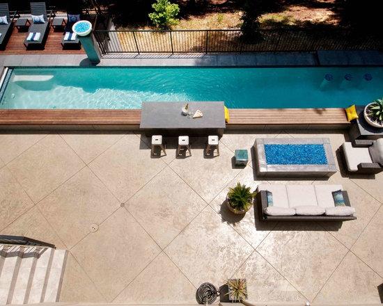 stamped concrete around pool | houzz