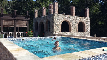 Tuscan style glass bottom rooftop pool