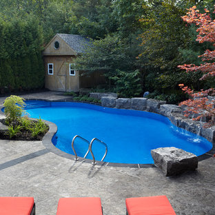 Large contemporary backyard custom-shaped natural pool in Toronto with a water feature and stamped concrete.