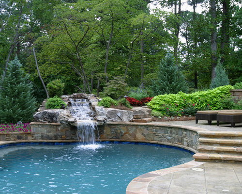 example of a classic custom shaped pool fountain design in atlanta