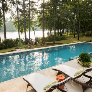 Hot tub - large contemporary backyard tile and rectangular lap hot tub idea in Dallas