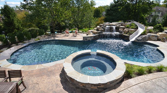Upper saucon pool with waterslide and swim up bar