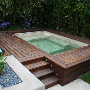 Ejemplo de piscinas y jacuzzis actuales, grandes, rectangulares, en patio trasero, con entablado
