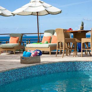 Imagen de piscina alargada, tropical, redondeada, en azotea