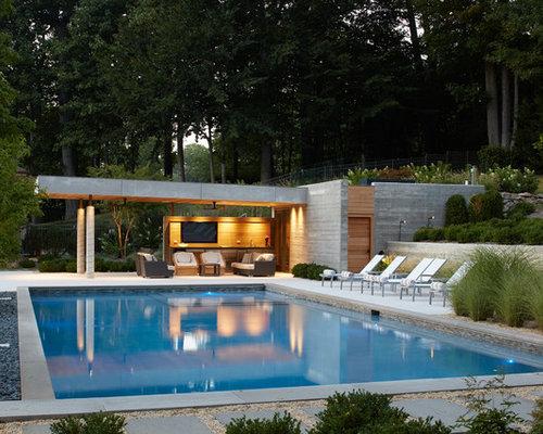 Piscine moderne de taille moyenne photos et id es d co - Pool house piscine moderne saint paul ...