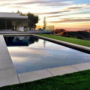 Diseño de piscina alargada, actual, de tamaño medio, rectangular, en patio trasero, con adoquines de hormigón