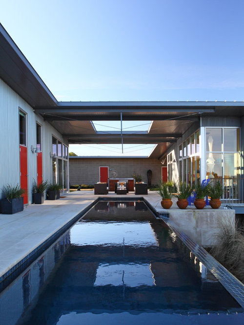 Example Of A Trendy Lap Pool Design In Austin Nice Look