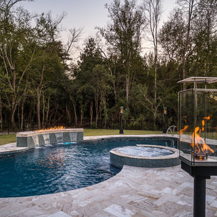 Vinyl Liner Pool with water and fire features in Trent Woods