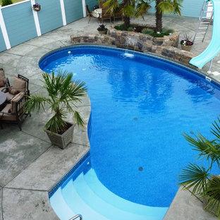 Foto de piscina con tobogán alargada, tradicional, pequeña, tipo riñón, en patio trasero, con suelo de hormigón estampado