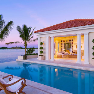 Design ideas for a tropical infinity pool in Tampa.