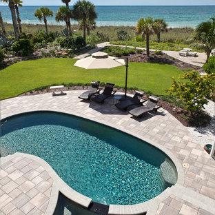 Diseño de piscina tropical tipo riñón