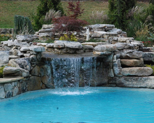 Swimming Pools With Waterfalls pool waterfall | houzz