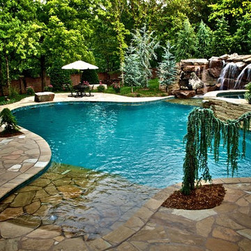 Waterfalls Connect Oklahoma Home to Pool