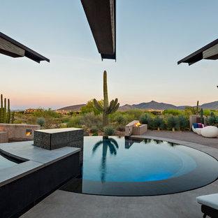 Modelo de piscinas y jacuzzis alargados, actuales, grandes, redondeados, en patio trasero, con adoquines de hormigón