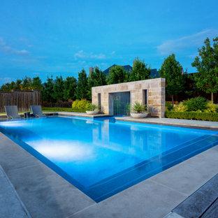 Idee per una grande piscina minimalista rettangolare dietro casa con pedane