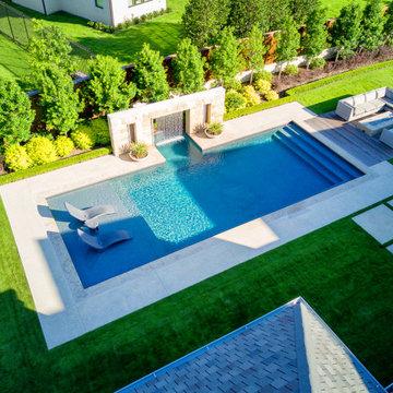 West Plano Clean Modern Pool + Fire