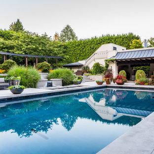 Imagen de piscina de estilo zen, rectangular, en patio trasero, con losas de hormigón