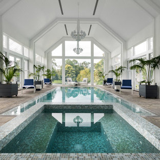 Design ideas for a transitional indoor rectangular pool in Perth with a hot tub and tile.