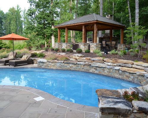 Western Red Cedar Pool Pavilion and Fireplace