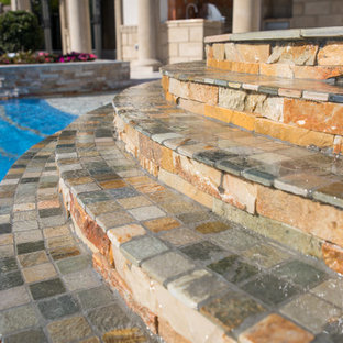 Wet Edge Steps for Freeform Pool with Wet Edge Spa in Lighthouse Point, Florida