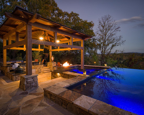 rustic pool house ideas. Pool House - Large Rustic Backyard Stone And Rectangular Infinity Idea In Charlotte Ideas L