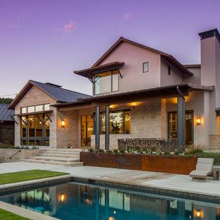Inspiration för klassiska rektangulär pooler på baksidan av huset